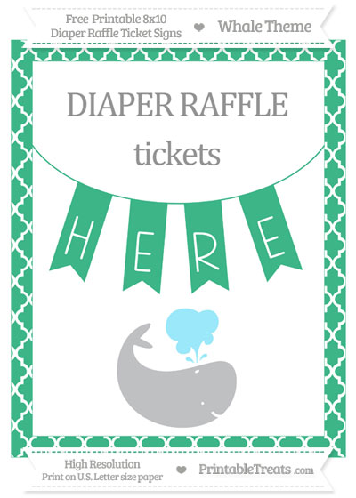 Free Mint Green Moroccan Tile Whale 8x10 Diaper Raffle Ticket Sign