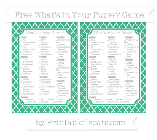 Free Mint Green Moroccan Tile What's in Your Purse Baby Shower Game