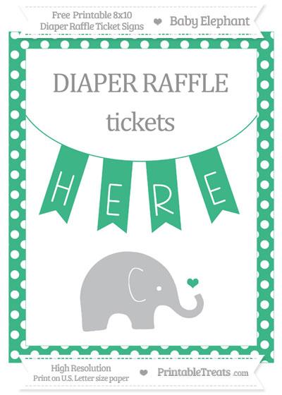 Free Mint Green Polka Dot Baby Elephant 8x10 Diaper Raffle Ticket Sign