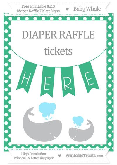 Free Mint Green Polka Dot Baby Whale 8x10 Diaper Raffle Ticket Sign