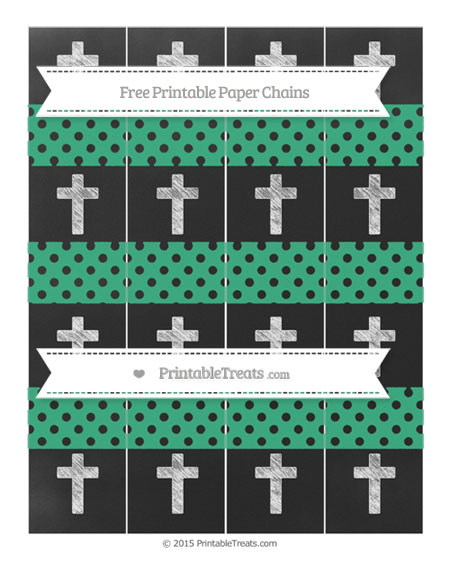 Free Mint Green Polka Dot Chalk Style Cross Paper Chains