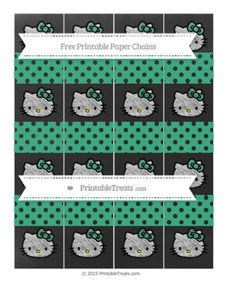 Free Mint Green Polka Dot Chalk Style Hello Kitty Paper Chains