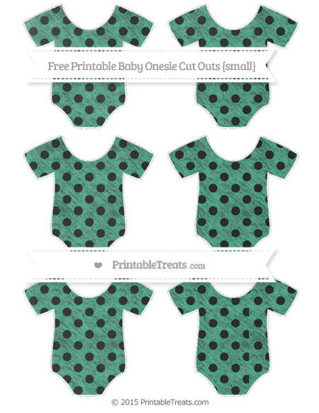 Free Mint Green Polka Dot Chalk Style Small Baby Onesie Cut Outs