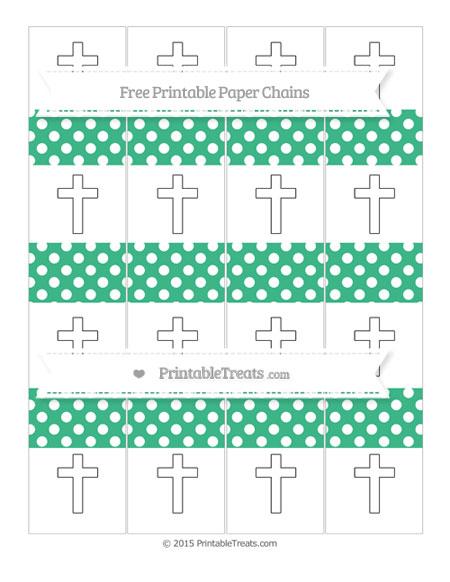 Free Mint Green Polka Dot Cross Paper Chains