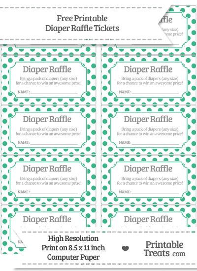 Free Mint Green Polka Dot Diaper Raffle Tickets