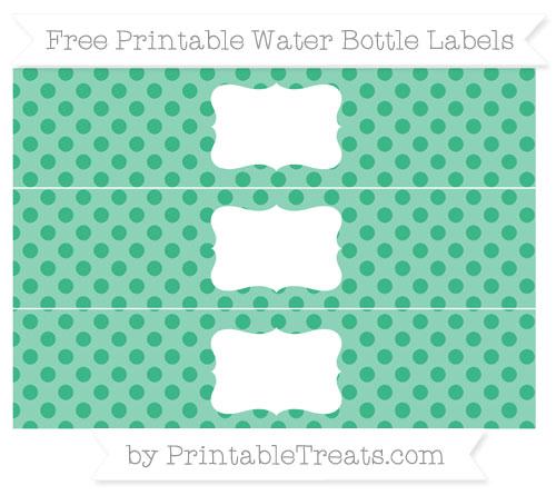 Free Mint Green Polka Dot Water Bottle Labels