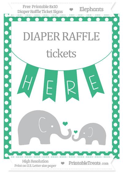 Free Mint Green Polka Dot Elephant 8x10 Diaper Raffle Ticket Sign