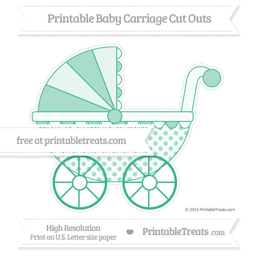 Free Mint Green Polka Dot Extra Large Baby Carriage Cut Outs