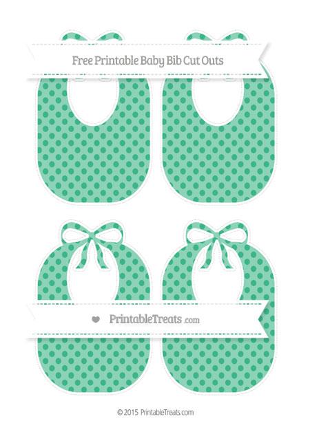 Free Mint Green Polka Dot Medium Baby Bib Cut Outs