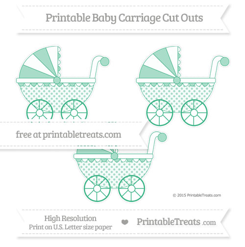 Free Mint Green Polka Dot Medium Baby Carriage Cut Outs
