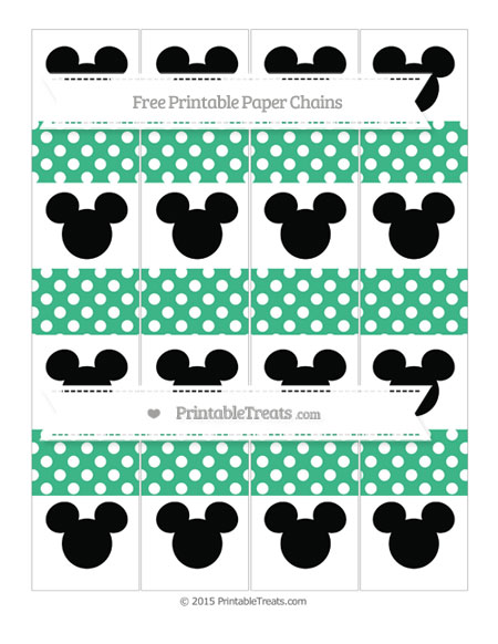 Free Mint Green Polka Dot Mickey Mouse Paper Chains