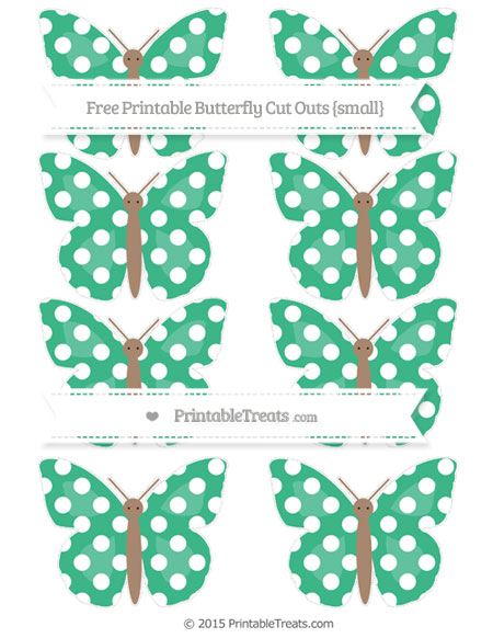 Free Mint Green Polka Dot Small Butterfly Cut Outs