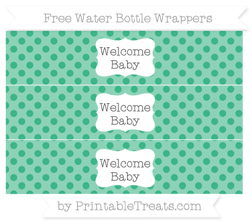 Free Mint Green Polka Dot Welcome Baby Water Bottle Wrappers
