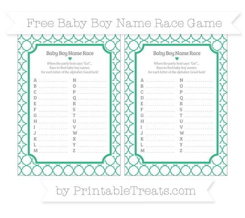 Free Mint Green Quatrefoil Pattern Baby Boy Name Race Game