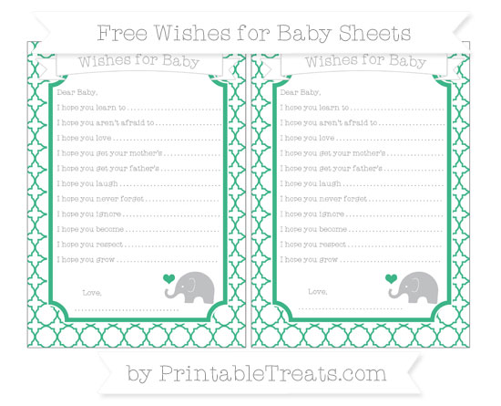 Free Mint Green Quatrefoil Pattern Baby Elephant Wishes for Baby Sheets