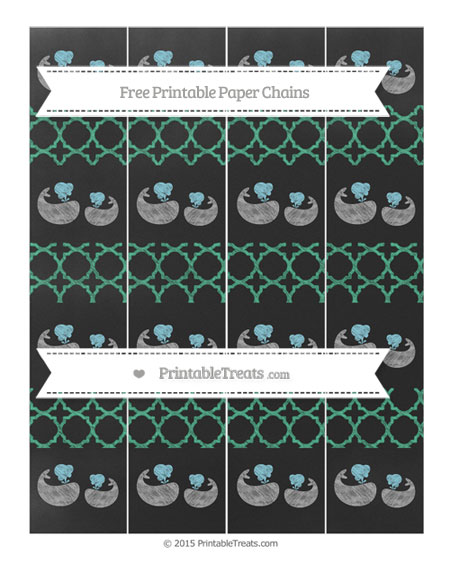 Free Mint Green Quatrefoil Pattern Chalk Style Baby Whale Paper Chains