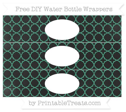 Free Mint Green Quatrefoil Pattern Chalk Style DIY Water Bottle Wrappers