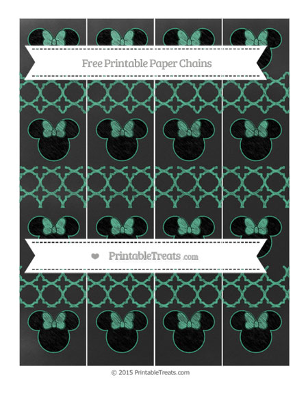 Free Mint Green Quatrefoil Pattern Chalk Style Minnie Mouse Paper Chains