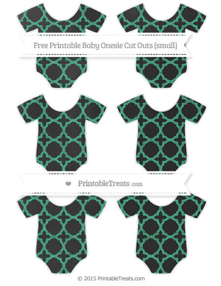 Free Mint Green Quatrefoil Pattern Chalk Style Small Baby Onesie Cut Outs