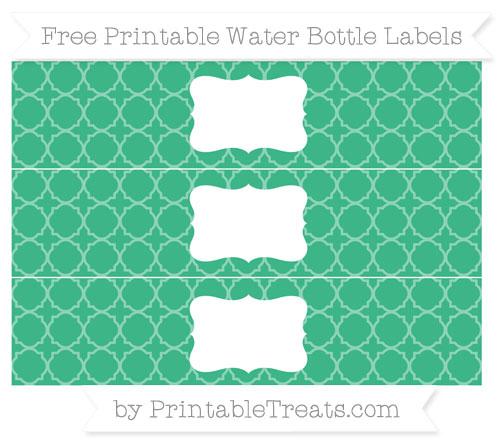 Free Mint Green Quatrefoil Pattern Water Bottle Labels
