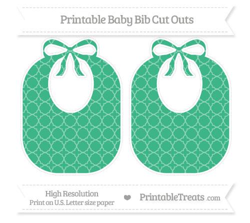 Free Mint Green Quatrefoil Pattern Large Baby Bib Cut Outs