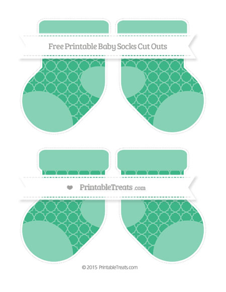 Free Mint Green Quatrefoil Pattern Medium Baby Socks Cut Outs