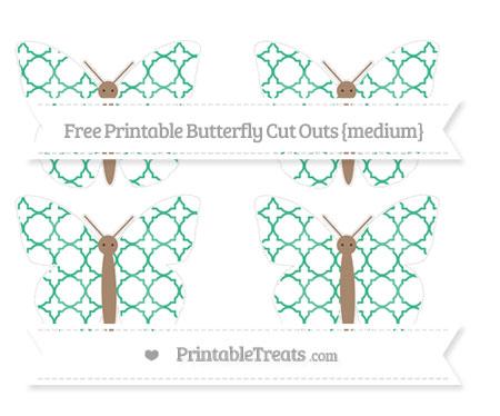 Free Mint Green Quatrefoil Pattern Medium Butterfly Cut Outs