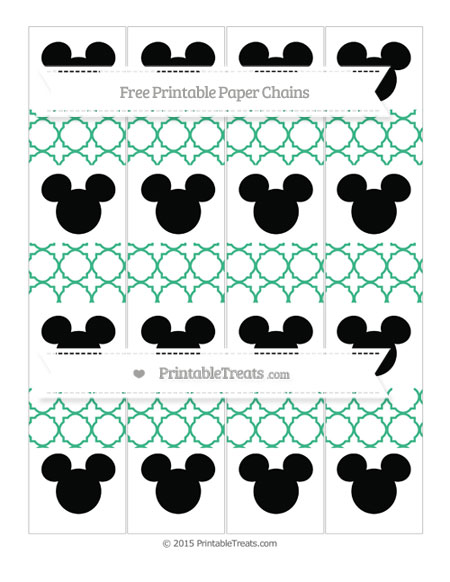 Free Mint Green Quatrefoil Pattern Mickey Mouse Paper Chains