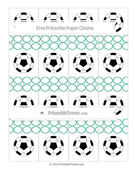 Free Mint Green Quatrefoil Pattern Soccer Paper Chains