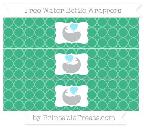Free Mint Green Quatrefoil Pattern Whale Water Bottle Wrappers