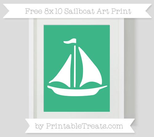 Free Mint Green Sailboat 8x10 Art Print