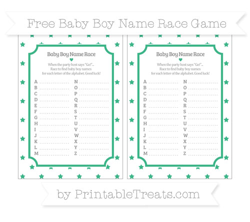 Free Mint Green Star Pattern Baby Boy Name Race Game