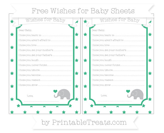 Free Mint Green Star Pattern Baby Elephant Wishes for Baby Sheets