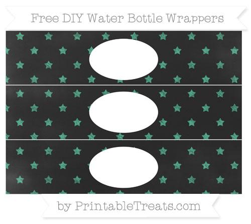 Free Mint Green Star Pattern Chalk Style DIY Water Bottle Wrappers