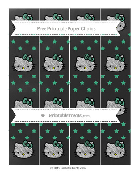 Free Mint Green Star Pattern Chalk Style Hello Kitty Paper Chains