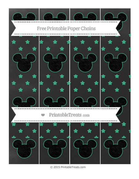 Free Mint Green Star Pattern Chalk Style Mickey Mouse Paper Chains