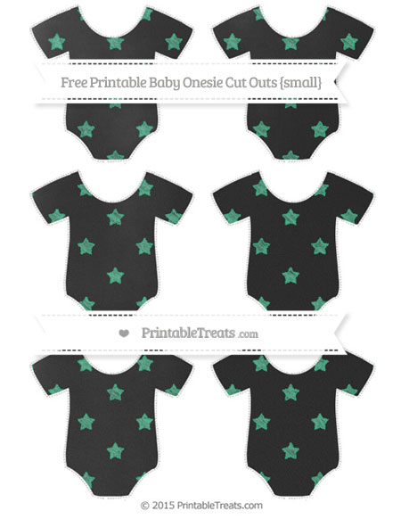 Free Mint Green Star Pattern Chalk Style Small Baby Onesie Cut Outs