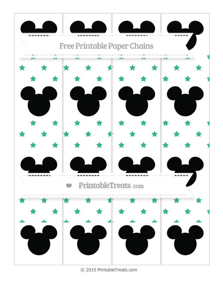 Free Mint Green Star Pattern Mickey Mouse Paper Chains