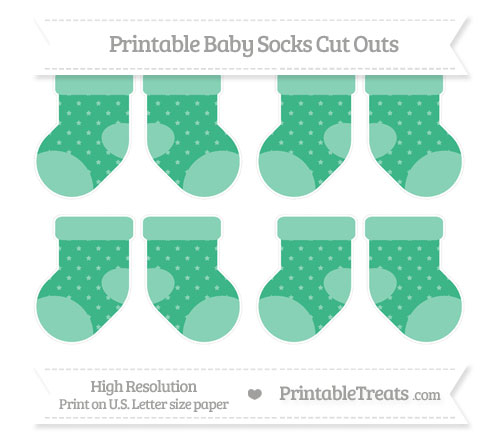 Free Mint Green Star Pattern Small Baby Socks Cut Outs