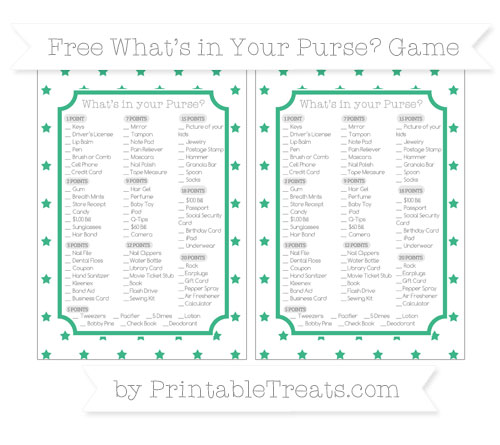 Free Mint Green Star Pattern What's in Your Purse Baby Shower Game