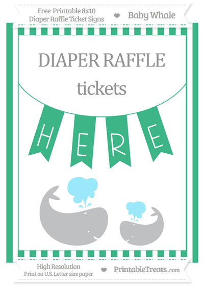 Free Mint Green Striped Baby Whale 8x10 Diaper Raffle Ticket Sign