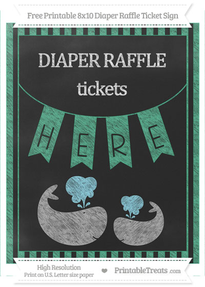Free Mint Green Striped Chalk Style Baby Whale 8x10 Diaper Raffle Ticket Sign