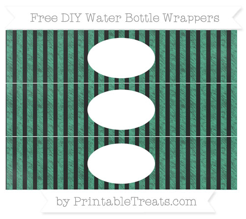 Free Mint Green Striped Chalk Style DIY Water Bottle Wrappers