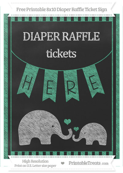 Free Mint Green Striped Chalk Style Elephant 8x10 Diaper Raffle Ticket Sign