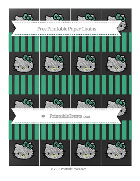 Free Mint Green Striped Chalk Style Hello Kitty Paper Chains