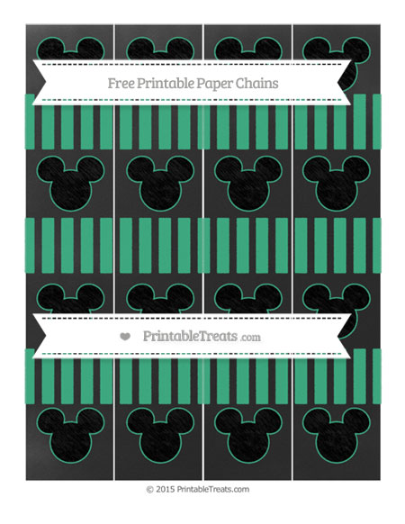Free Mint Green Striped Chalk Style Mickey Mouse Paper Chains