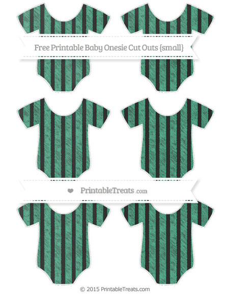 Free Mint Green Striped Chalk Style Small Baby Onesie Cut Outs