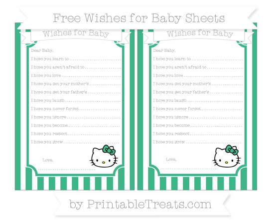 Free Mint Green Striped Hello Kitty Wishes for Baby Sheets