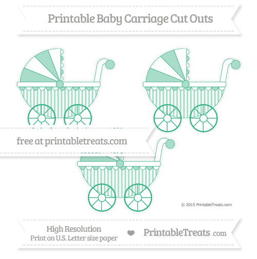 Free Mint Green Striped Medium Baby Carriage Cut Outs