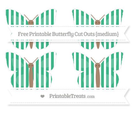 Free Mint Green Striped Medium Butterfly Cut Outs